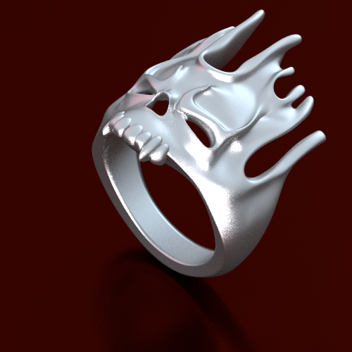 flaming skull ring in sterling silver. size to order, sterling silver, 150 bucks,