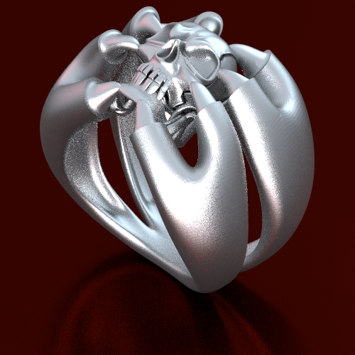 skull ring with claws, sterling silver, order to size, 300 bucks